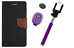 Novo Style Wallet Case Cover For Micromax Canvas Selfie Lens Q345 Black + Selfie Stick with Adjustable Phone Holder and Bluetooth Wireless Remote Shutter