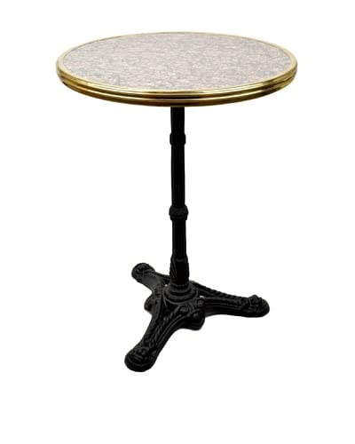 Bonnecaze Absinthe & Cuisine French Marble and Iron Bistro Table, Grey/Pink Marble