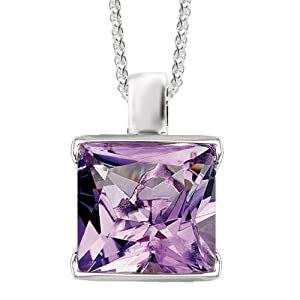 925 Sterling Silver High-Polish Finish Classic Square Amethyst Pendant
