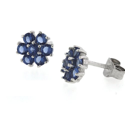 Sterling Silver Blue Sapphire CZ Daisy Flower Stud Earrings