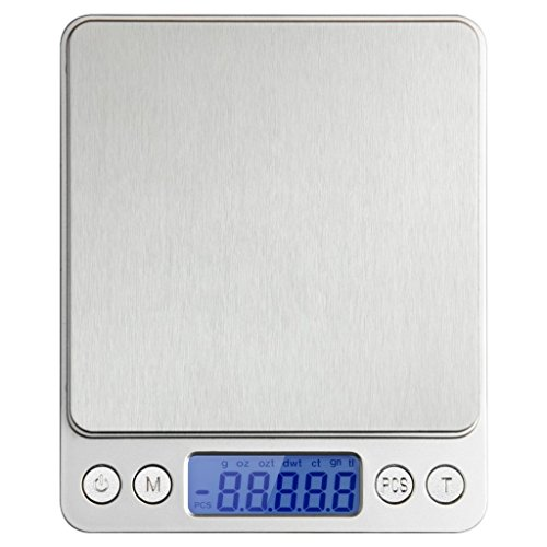 Next-shine 0.01oz/0.1g 2000g Top Digital Pocket Kitchen Food Jewelry Weight Compact Scale with Tare,Stainless Steel,Powered by 2 AAA Batteries