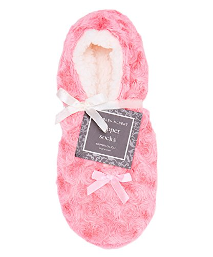 Charles Albert Womens Cozy & Comfortable Womens Slipper Socks (One Size Fits All) (M/L, Pink With Bow)