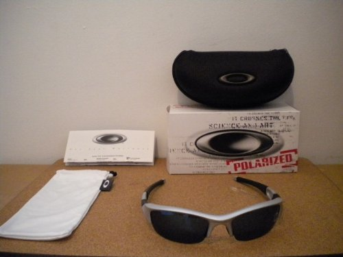 New Oakley Flak Jacket 24-120 Silver/Ice Iridium Polarized Sunglasses
