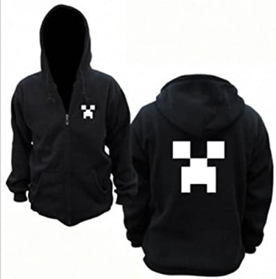 3d Sandbox Game Creeper Hoodie Black Minecraft Monster Rave Hoodie Jacket Size Lheight 669-689 Inchesstandard from skycostume