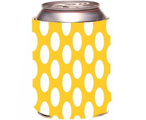 Rikki Knighttm Deep Yellow Polka Dots Design Drinks Cooler Neoprene Koozie front-615688