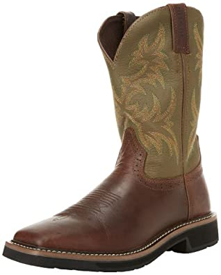 "Justin Original Work Boots Men's Stampede Collection 11"" Boot Stampede Square Toe,Waxy Brown/Hunter Green,6 D US"