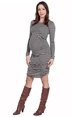 Nom Raleigh Striped Maternity Dress - Olive Stripe - Large