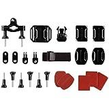 Action Cam Halterung - Kompatibel mit GoPro HERO1 / HERO2 / HERO3 / HERO3+ / HERO4 / HERO4+ / HERO4 Session - Halterungsset für Sportkameras - Montage Set aus 24 Elementen