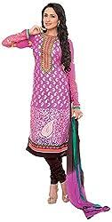 Renisha Fashion Women's Brasso Unstitched Salwar Suit (Pink)