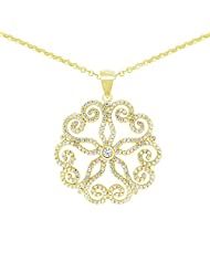 Gemtogems Flower Design Yellow Gold Plated Pure 925 Sterling Silver Pendant