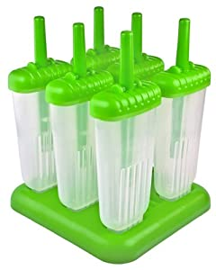 Tovolo 80-4579 Groovy Ice Pop Molds (Set of 6), Green