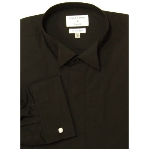 Mens Wing Collar Cotton Rich Formal Dress Shirt Black with Double Cuff