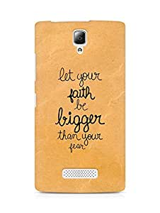 AMEZ let your faith be bigger than your fear Back Cover For Lenovo A2010
