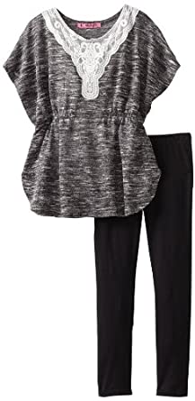 Energie Big Girls' Teresa Angel Sleeve Hacci Top With Legging, Black/White, Small