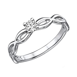 1/10 cttw Certified Diamond Engagement Ring in 14K White Gold (1/10 cttw, J-K Color, I1-I2 Clarity)