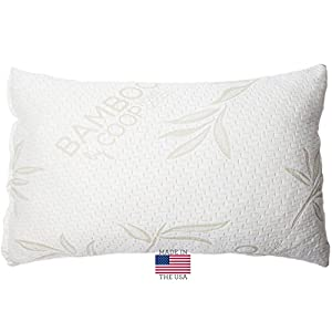 Shredded Memory Foam Pillow with Bamboo Cover by Coop Home Goods - Made in the USA - QUEEN