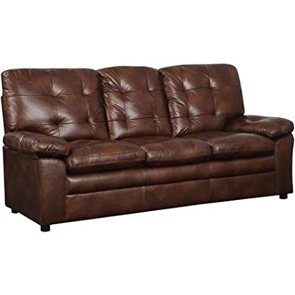 Buchannan Faux Leather Sofa, Chesnut