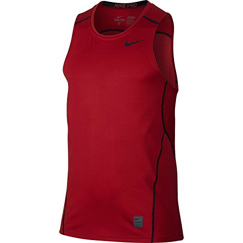 Nike Men's Pro Hypercool Fitted Sleeveless Training Shirt (Gym Red/Black,Large)