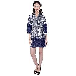 TUNTUK Women's Super Tunic Blue Cotton Dress