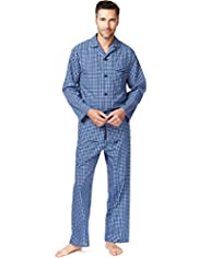 Revere Collar Micro Checked Pyjamas