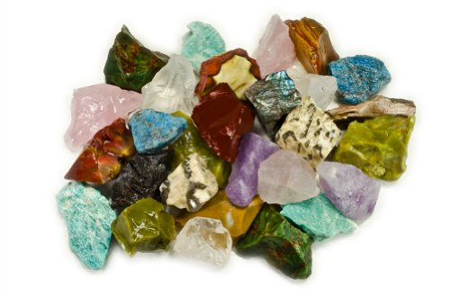 "Hypnotic Gems Materials: 3 Pounds (Best Value) Bulk Rough Madagascar 12 Stone Mix: Amethyst, Labradorite, Septarian, Rose Quartz, Green Opal, Girasol Quartz, Desert Jasper, Blue Apatite, Red Jasper, Petrified Wood, Yellow Jasper & Chrysocolla - Large 1"" N"