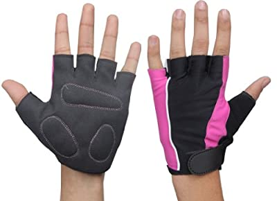 Fitness Gear Blk-Pnk ladies women bmx mountain cycling gloves Large weight lifting gym training bodybuilding gloves fingerless. by Fitness Gear