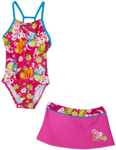 Speedo Girls 2-6x Watercolor Surf Duo Back Skirt Set Swimsuit, Pink, 6