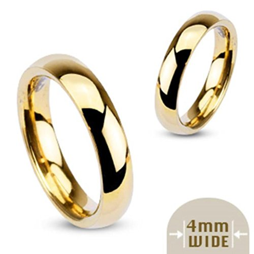 Paula & Fritz® Ring aus Edelstahl Chirurgenstahl 316L vergoldet Klassischer Ehering hochglanz poliert 4mm Breite Ringgrößen 46 (144) – 69 (22) R002-4