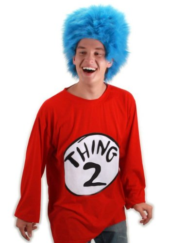 Dr. Seuss Cat In The Hat Thing 1 or Thing 2 T Shirt Kit with Wig