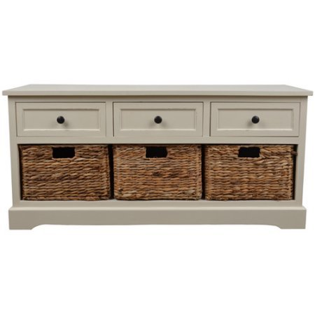 Functionality and Style Montgomery Bench with 3 Woven Storage Baskets, White (Country Storage Bench compare prices)