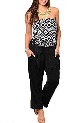 DHStyles Women's Plus Size Trendy Strapless Tribal Print Dressy Romper with Sash