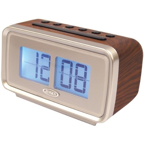 JENSEN JCR-232 AM/FM Dual Alarm Clock with Digital Retro Flip Display