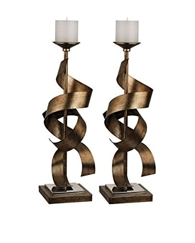 Artistic Set of 2 Metal Sculpture Candle Holders, Roxford Gold