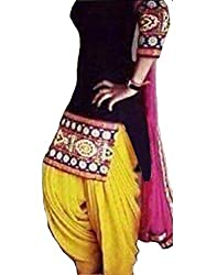 Metroz Black Cotton embroidered semi stitched salwar with dupatta