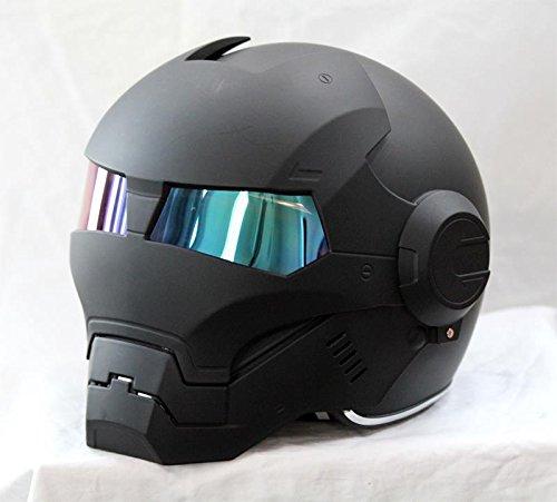 Masei 610 Motorcycle Helmet Atomic Man Modular Flip Up Open Face DOT Approved Optional Multi Colors(XL, Matt Black)