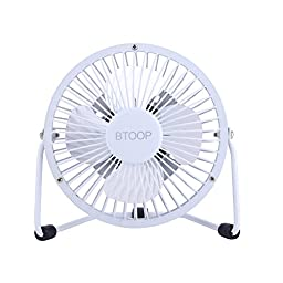 BTOOP USB Desk Fan Mini Personal Fan Metal Design with ON/OFF Switch USB Powered for Home and Office, 4\