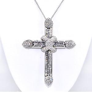 18K White Gold Diamond Fancy Cross