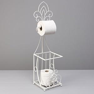 Shabby Chic White Toilet Roll Holder Free Standing Amazon