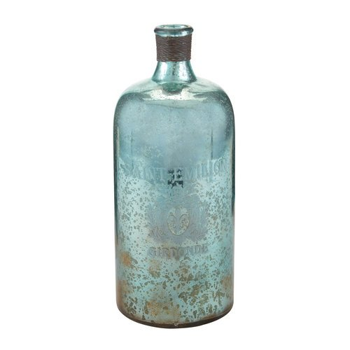 Tall Aqua Antique Mercury Glass Bottle (Antique Bottles For Sale compare prices)