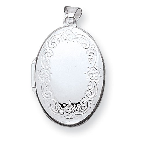 Sterling Silver High Polished Front Oval Locket