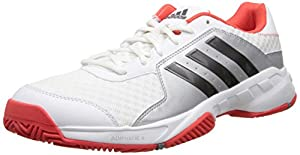 adidas Performance Men's Barricade Court Tennis Shoe, White/Iron Metallic/Bright Red, 9.5 M US