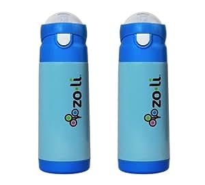 Zoli Dash Vacuum 12 oz Insulated Straw Drink Bottle, 2 Pack - Blue