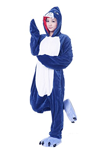 FashionFits Unisex Adult Blue Cute Shark Flannel Jumpsuit Pajamas Costume (X-Large) (Kigurumi Shark compare prices)