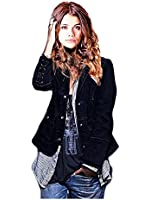 CA Fashion Women's Frayed Denim Military Jacket Coat Outerwear Blazer