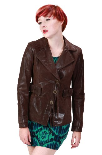Ramonti Womens Short Leather Trench Belted Safari Blazer