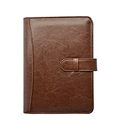 Business Leather Portfolio Professional with Removable 6-Ring Binder (Brown)