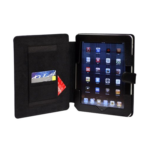 CaseCrown Genuine Leather Horizontal Flip iPad Case (Black) for the Apple iPad Wifi / 3G Model 16GB, 32GB, 64GB