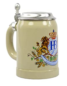 Hofbrauhaus 0.5 Liter Ceramic Beer Stein Lion Motif with Lid by Hofbrauhaus
