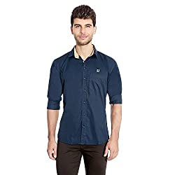 FlyJohn Blue Cotton Silk Men's Shirt