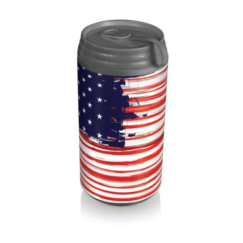 Picnic Time Insulated Micro Can Cooler, Stars And Stripes front-612011